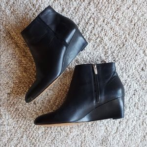 Black Leather Coach Ankle Boots